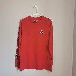 Volcom Large Red Men's Long Sleeve Logo Shirt